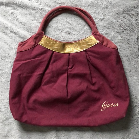 Guess Bags   Canvas Tote Bag In Raspberry W Gold Accents   Poshmark dfb00e6b64